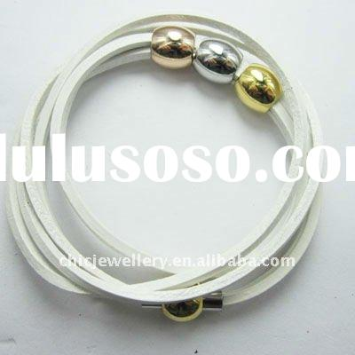 wholesale leather bracelet with 3 color stianlesst steel bead