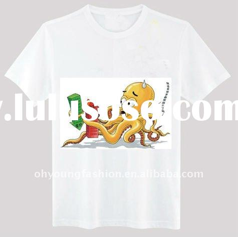 wholesale white tshirts cotton plain printesd 140gsm short sleeve crew neck for man/2012 octopus t s