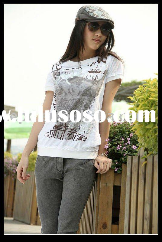 women multicolor high quality cotton t shirt for 2011 summer