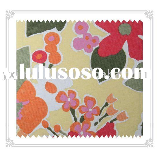 100% cotton knitted flower printed fabric