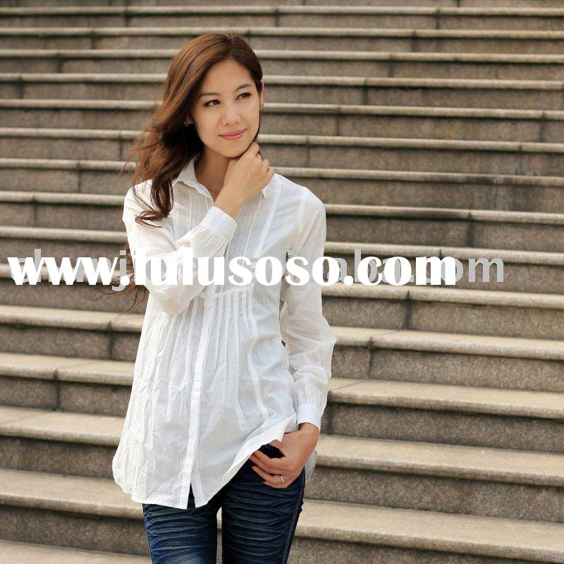 100% cotton long sleeve casual lady shirt