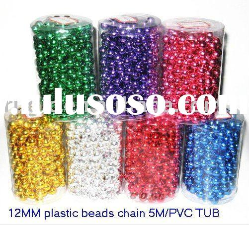 12mm plastic beads chain 5m/pvc tub, Outdoor garden yard Christmas plastic bead chain garland art cr