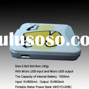 1500mAh Mini Compact portable charging Battery charger with Micro USB input and output