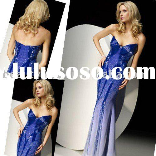 2010 shining sapphire blue fully beaded evening dress wedding garments,bridal gowns in Arabic styleE