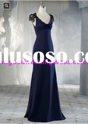2011 Glamorous Black Lace Long Chiffon Bridesmaid Dresses