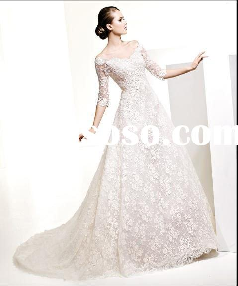 2011 Hot sale lace long sleeve wedding gown