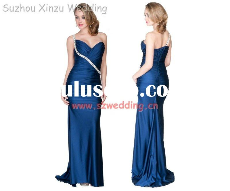 2011 New Dark Blue One-Shoulder Corset Formal Party & Evening Dress DB2887