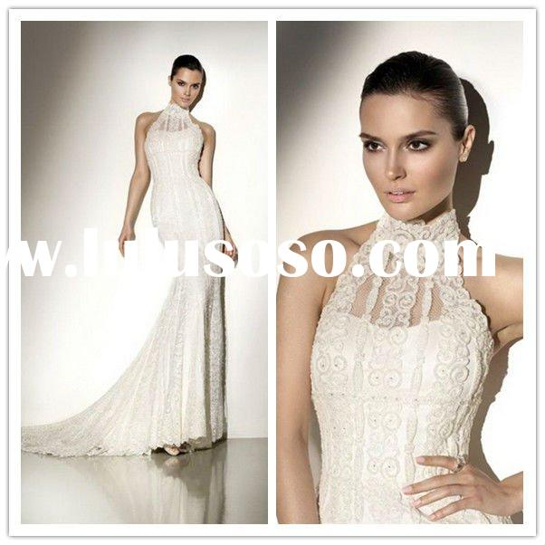 2011 New Fashion High Collar Bridal Gowns Chapel Train Organza Pleated Applique Real Lace Wedding Dr