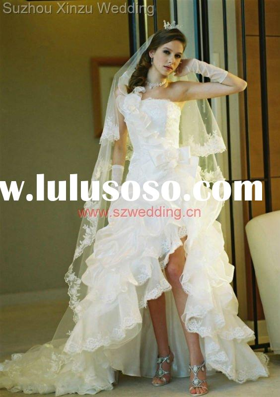 2011 The Most Beautiful Bride Embroidered Lace Asymmetrical One-Shoulder Wedding Dress DB2620