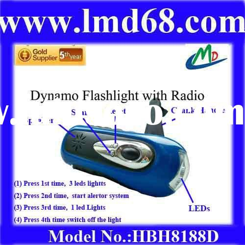2011 hot Sale Dynamo mobile phone Charger LED Flashlight/torch HBH8188D