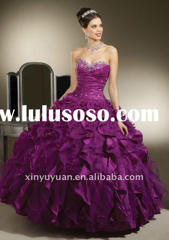 2011 new style beauty sweetheart sleeveless purple layered ball gown quinceanera dresses MRQ-094