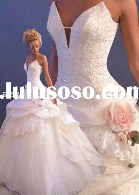 2011 new style pink and white bridal wedding dress