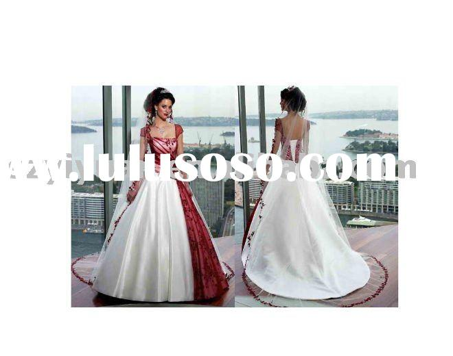 2011 new style white and red bridal wedding dress