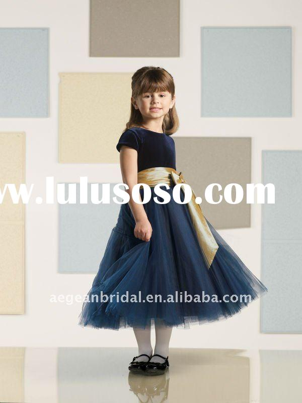 2011 top popular navy blue cap sleeve tulle flower girl dress with sash bow ZS-d0016