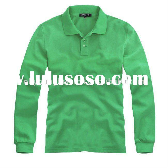 2011new arrival men's cotton &polyester pique solid color plain green long sleeve polo s