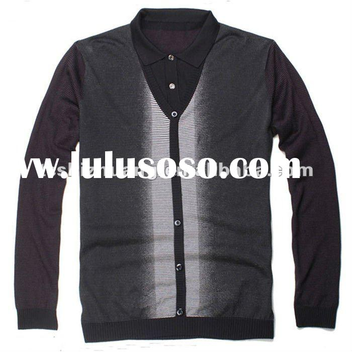 2012 100% wool shirt collar high weight knitted pollover sweater