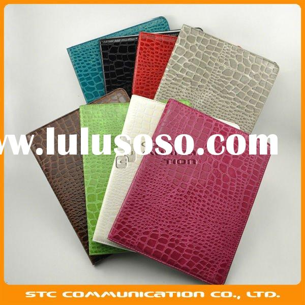 2012 9.7 inch tablet Leather Case,Crocodile Pattern Cover Pouch Case for Apple iPad 2,Multi color,Cu