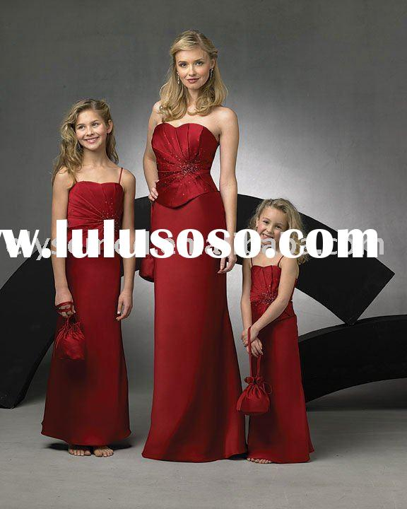 2012 Formal Beaded Neckline Red Satin Long Junior Bridesmaid Dresses