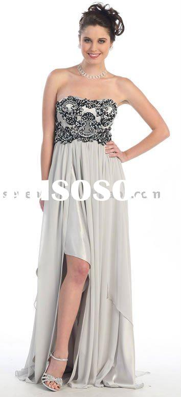 2012 New Strapless High-Low Hem Nice Embroidery Prom Dresses