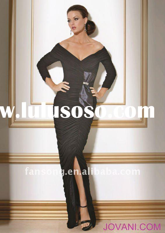 2012 Stylish ruffled long sleeve V-neck black prom dress