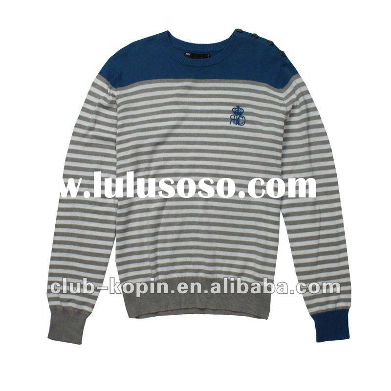 2012 fashion men stripe long sleeve sweater