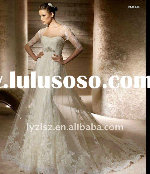 2012 new style HY2405 lace short sleeves wedding gown