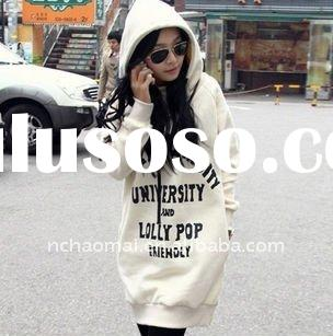 2012 spring and autumn hot sale !! long sleeve fashion women's sweatshirt with hood and prin