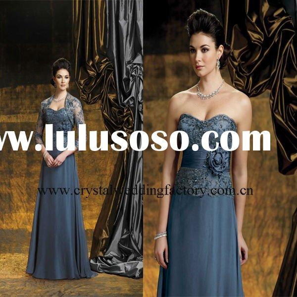 2012 sweetheart long sleeve beaded appliqued slate&blue lace chiffon floor length mother of the