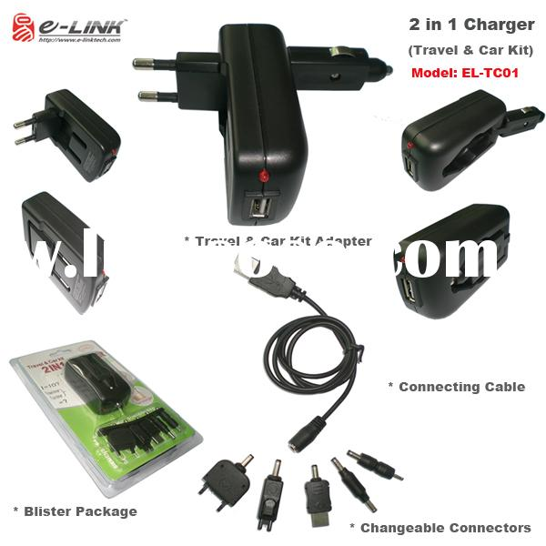 2 in 1 Charger,Travel&car kit, Travel charger.USB car charger