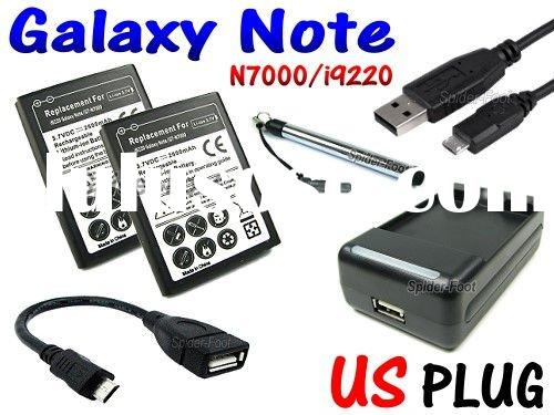 2x Battery + USB AC Charger + Micro USB Host OTG Cable for Samsung Galaxy Note N7000 i9220 i92-2B