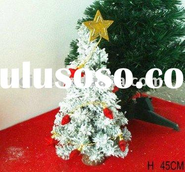 45cm small artificial house place decorative snowing christmas tree,PVC plastic pine needles indoor