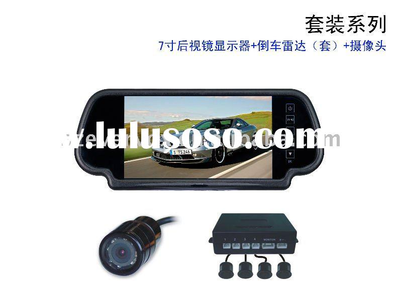 7 inch auto rearview mirror car parking sensor system front camera