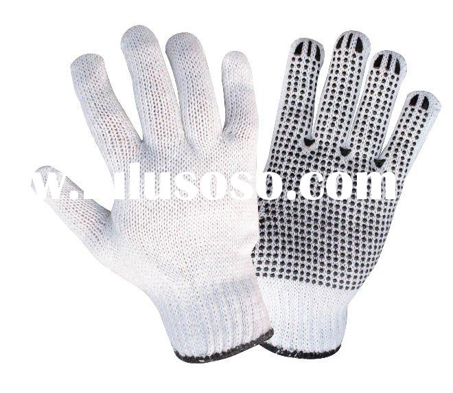 7gauge bleached poly/cotton glove,PVC dots on palm