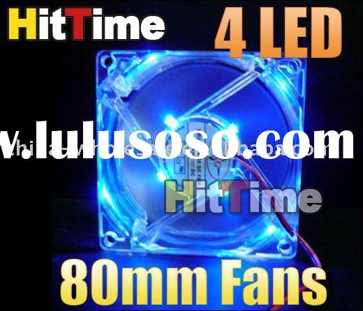 80mm Fans 4 LED Blue for Computer PC Case Cooling Wholesale Free Shipping