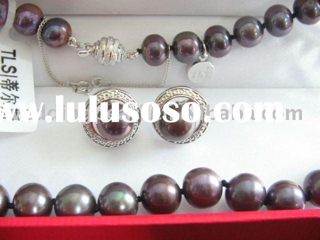 8-9mm purple freshwater pearl necklace,earring set with 925 silver clasp P9020