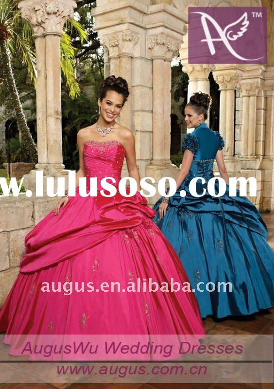 AQM002 New Elegant Strapless Floor Length Ball Gown Quinceanera Dresses Prom Gowns 2012