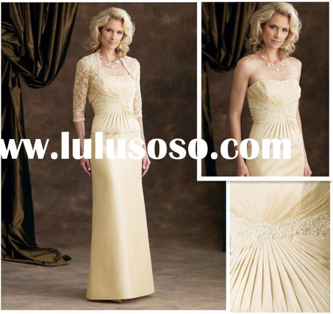 A-line Strapless Satin Lace Floor-length Mother of the Bride