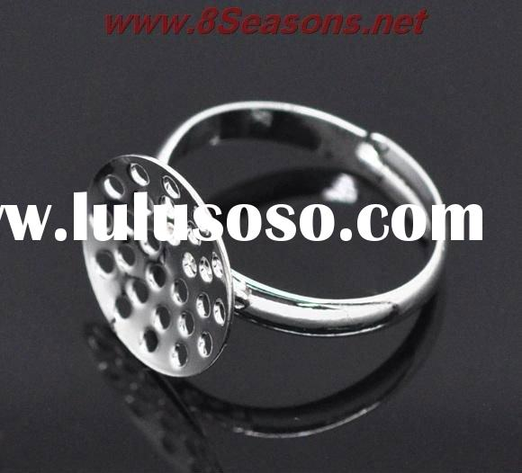 Adjustable Silver Plated Ring Base Blank Findings 19mm (US 7)
