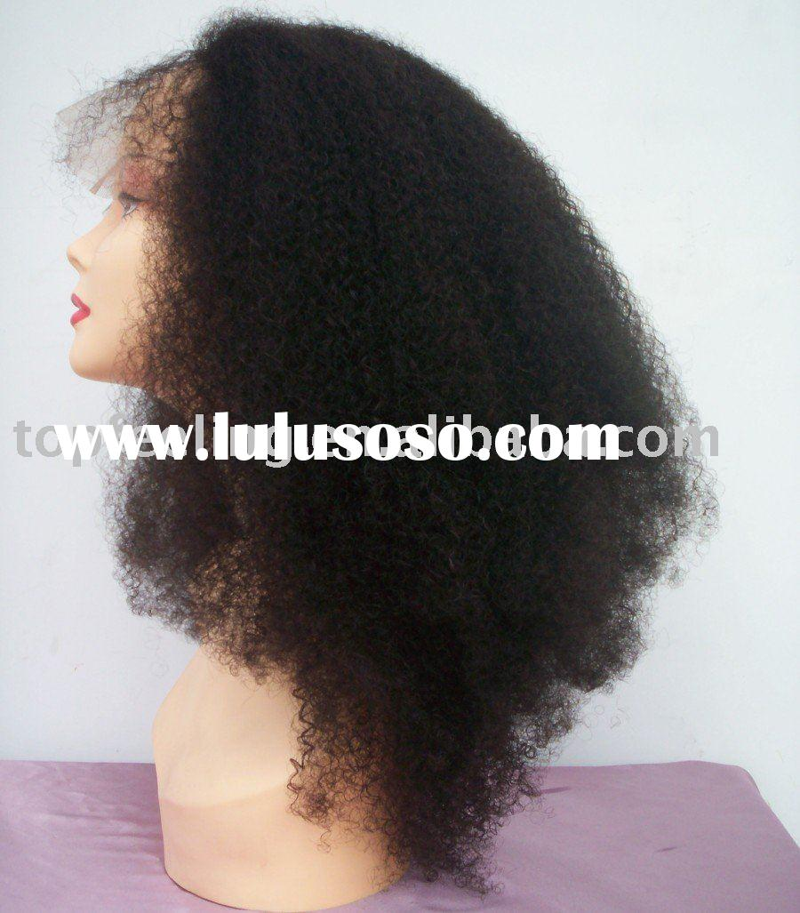 Afro Curl 20 inch No.1B color front lace wig