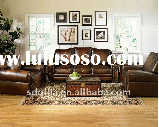 American classic style living room luxury leather sofa