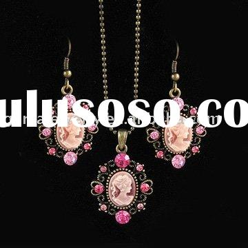 Antique Jewelry Set Pink Cameo Earring and Necklace Set