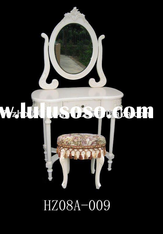 Antique white wooden dressing table with mirror and stool