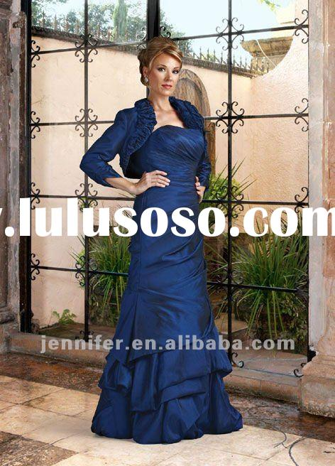 Attractive royal blue mother of the bride dress with long sleeve jacket (ABB145)