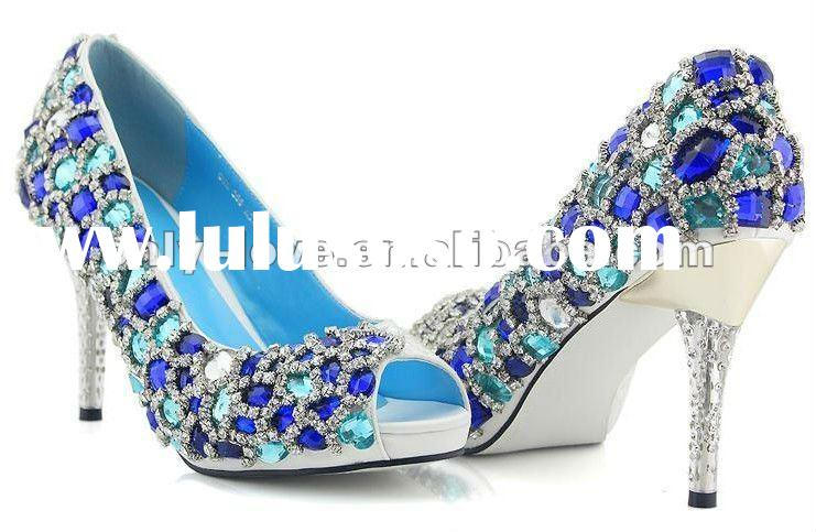 BS274 beautiful peep toe bridal shoes with blue diamond crystals wedding shoes