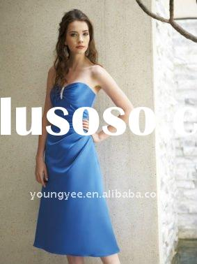 Beaded sweetheart satin short a line royal blue bridesmaid dresses(BM10034)