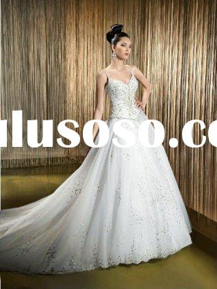 Beautiful spaghetti strap crystal beading wedding dress MAR-503a