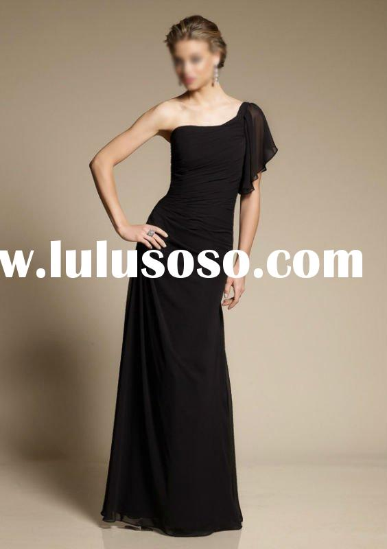 Black Chiffon One-Shoulder Long Bridesmaid Dress 4002