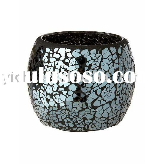 Black Crackle Mirrored Mosaic Candle Holder