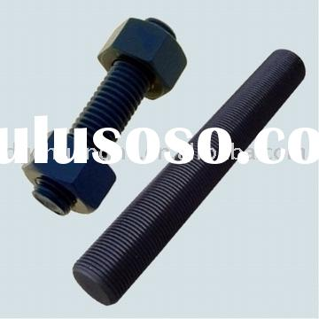 Black Zinc Plated DIN976 Metric Thread Stud Bolts with Hex Nuts