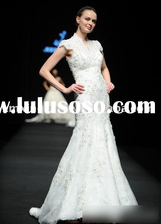 CMY032 cap sleeve beaded lace mermaid wedding dress
